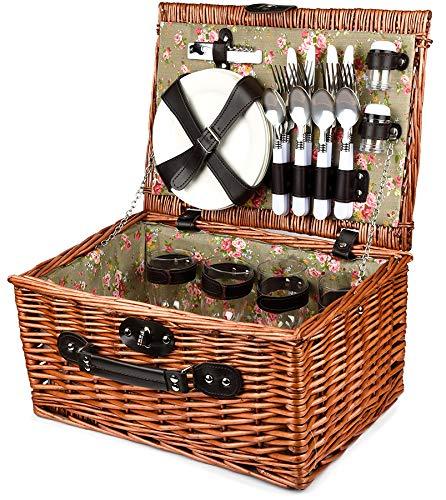 Bingo-Shop Picknickkorb für 4 Personen Inklusive Bestecksets, Korkenzieher, Weingläser und Keramikteller - 29 x 20 x 41cm Picknickkoffer Picknickset Picknick Korb