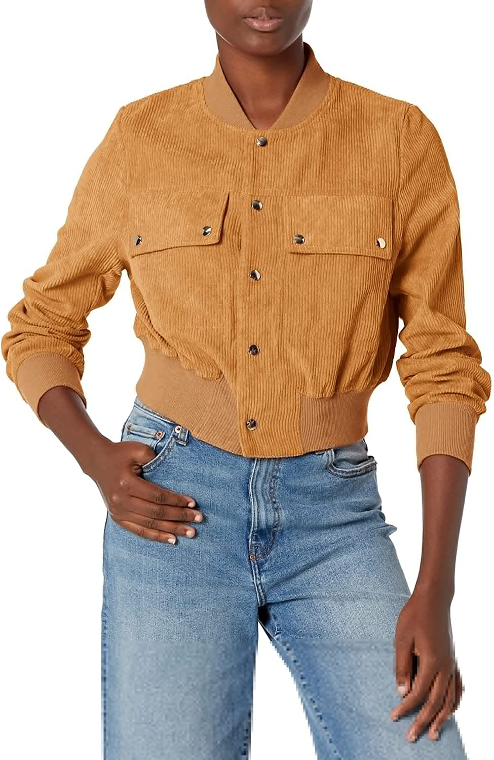 KENDALL + KYLIE Women's Corduroy Cropped Bomber Jacket