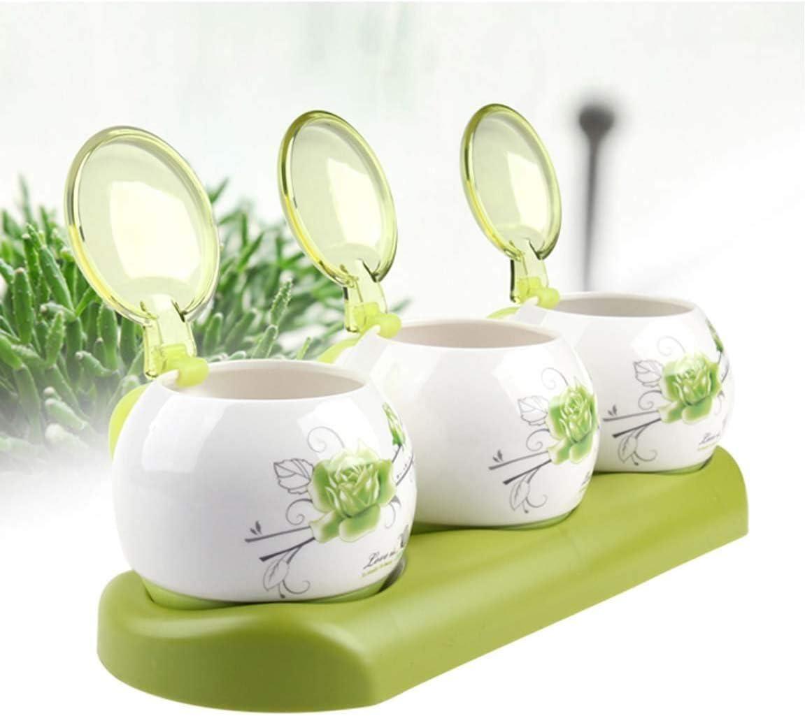 MZXUN Hat Kitchen Green Rose Year-end annual account Ceramic Seasoning Jar Glass High quality new