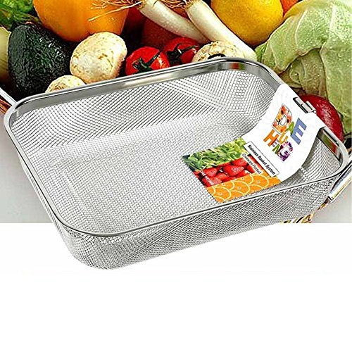 Rectangle Strainer Stainless Steel Mesh Sink Basket L12×D9.2×H2.3(inch) Vegetable Fruit Colander Strainer Kitchen Tools 1pcs