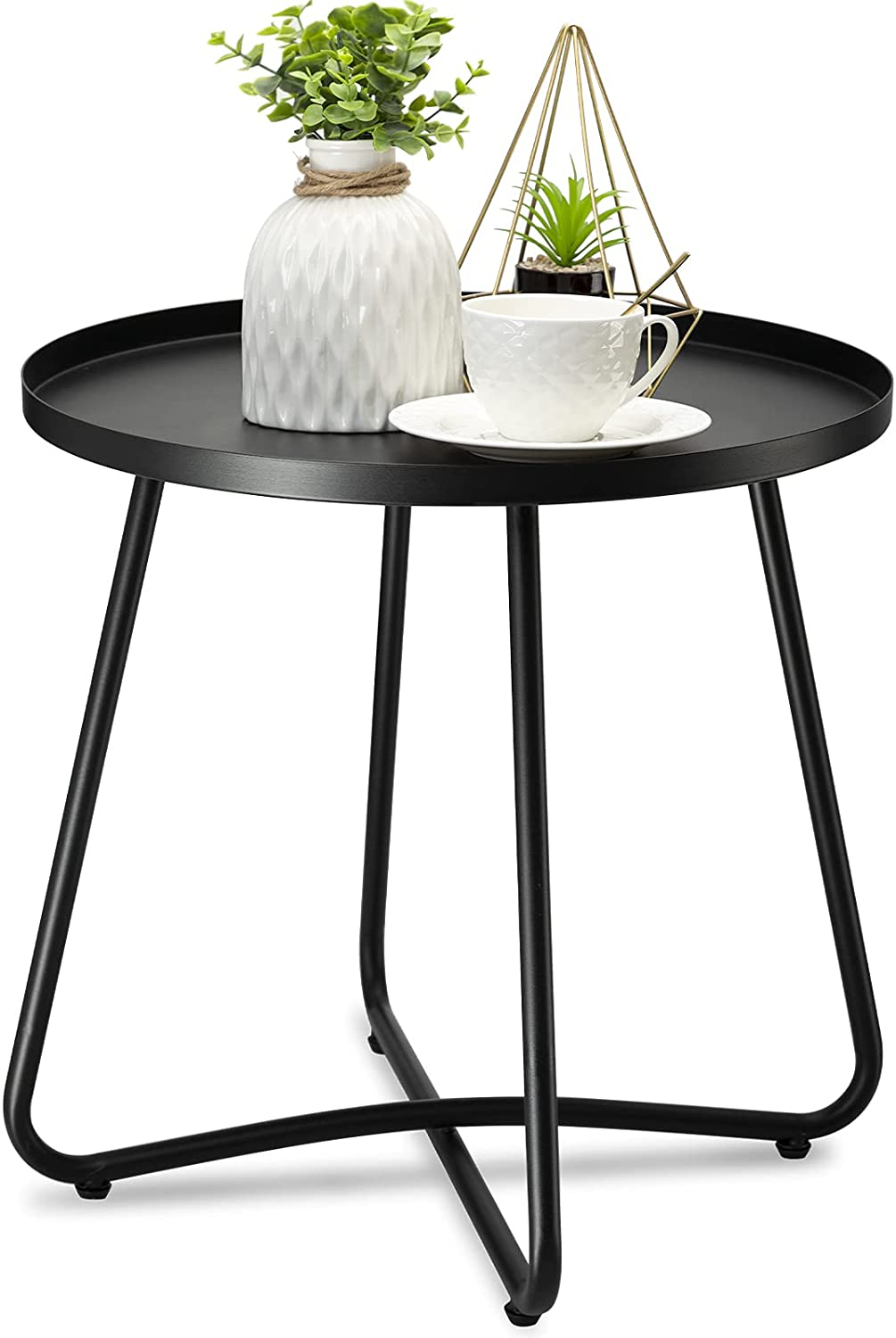 danpinera Outdoor Side Tables, Weather Resistant Steel Patio Side Table, Small Round Outdoor End Table Metal Side Table for Patio Yard Balcony Garden Bedside Black