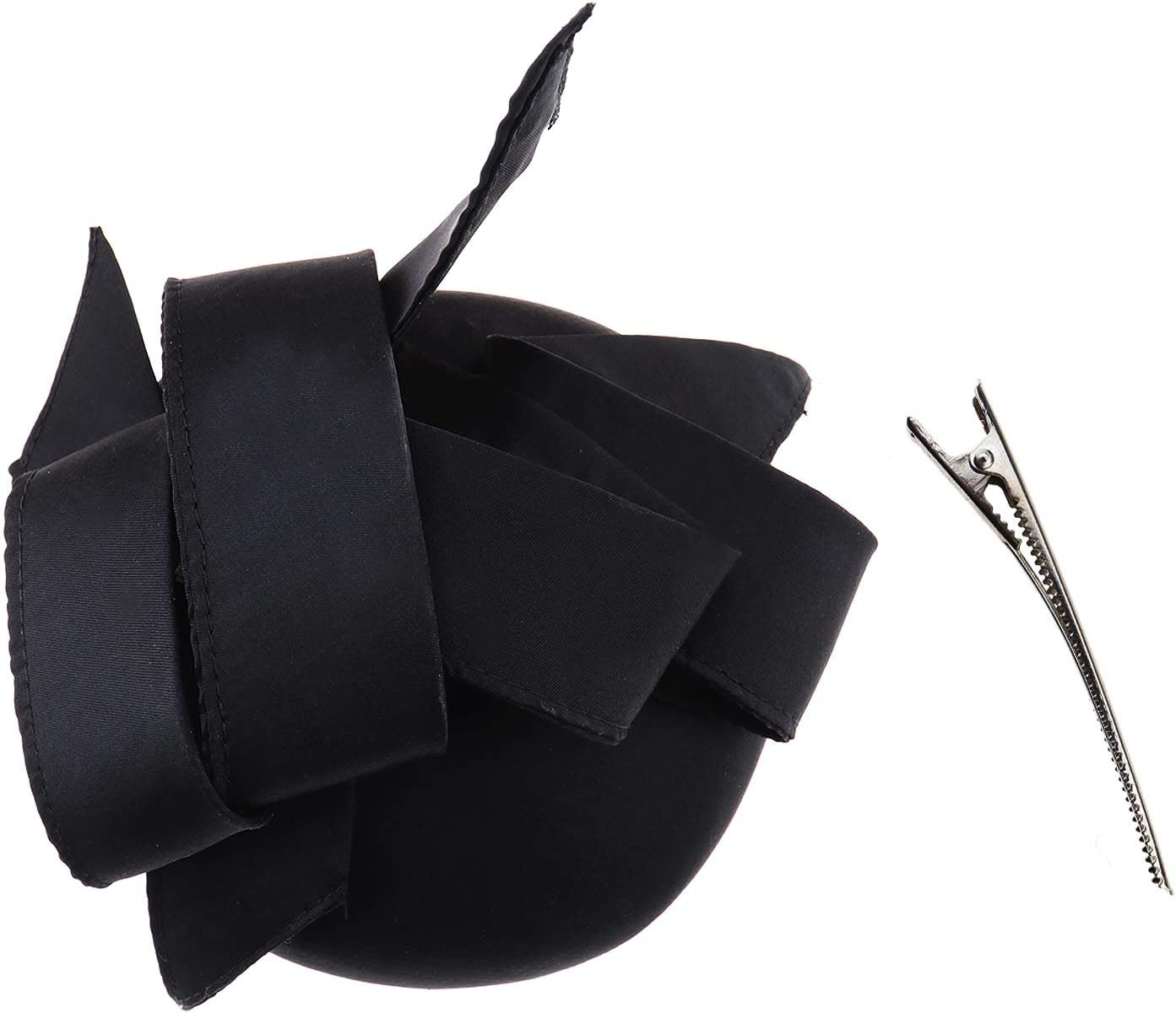 Creative-Idea Elegant Headband Fascinator Headwear Ladies Race Royal Ascot Pillbox Cocktail Party Derby Hat Black