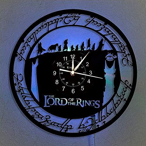 Il Signore degli Anelli Orologio da parete con dischi in vinile Orologio da parete a LED da 12 pollici Idee regalo per amici e ragazzi Orologio da parete creativo per amanti dei film.