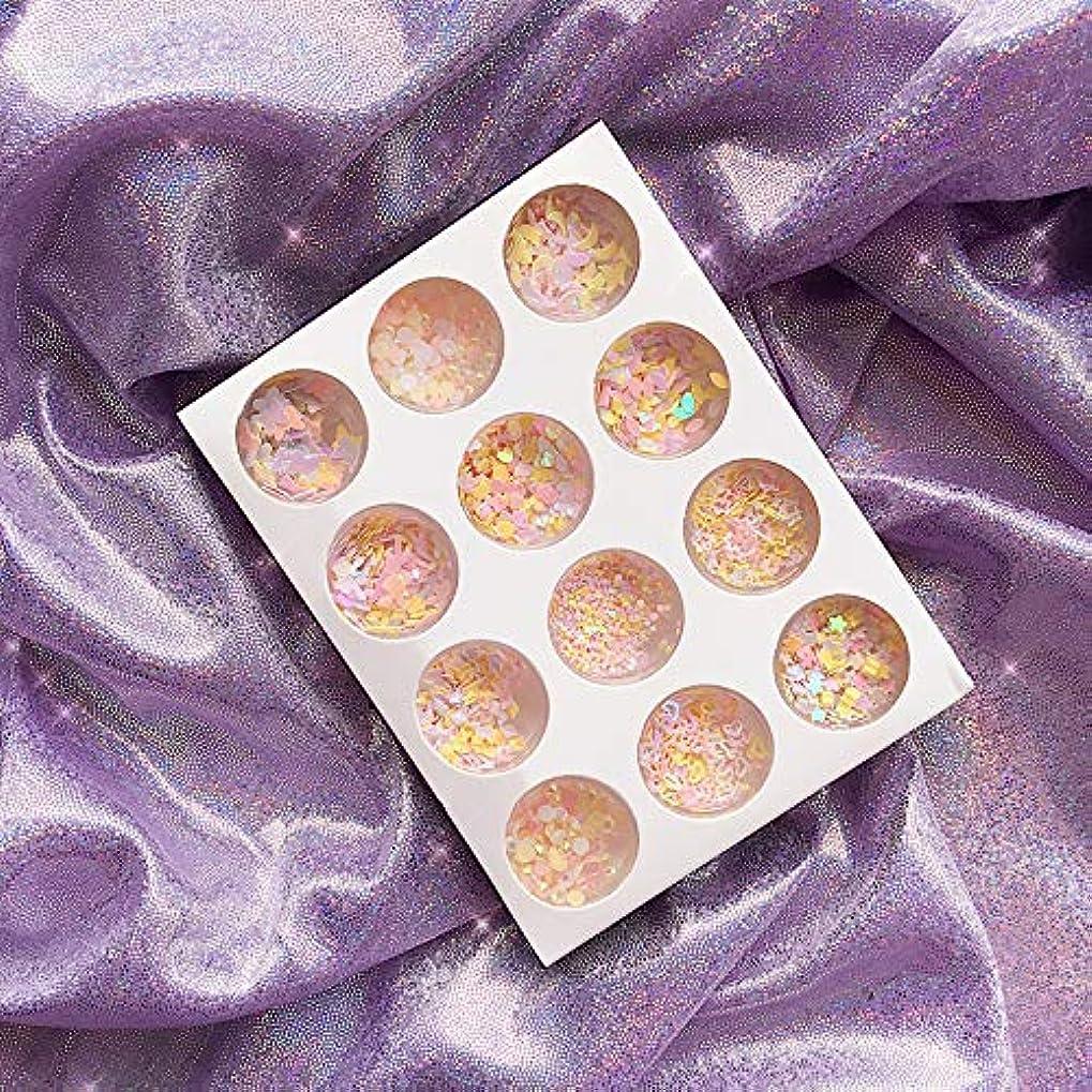 六月精神的に幾何学12種類 可愛い DIYネイルアート グリッター 封入素材 アイメイク 装飾品 ネイルパーツ グリッター キラキラ