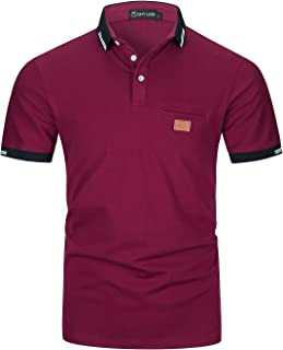 GHYUGR Men's Short Sleeve Polos with Classic Plaid Splice Pocket Golf Polo Shirts S-2XL
