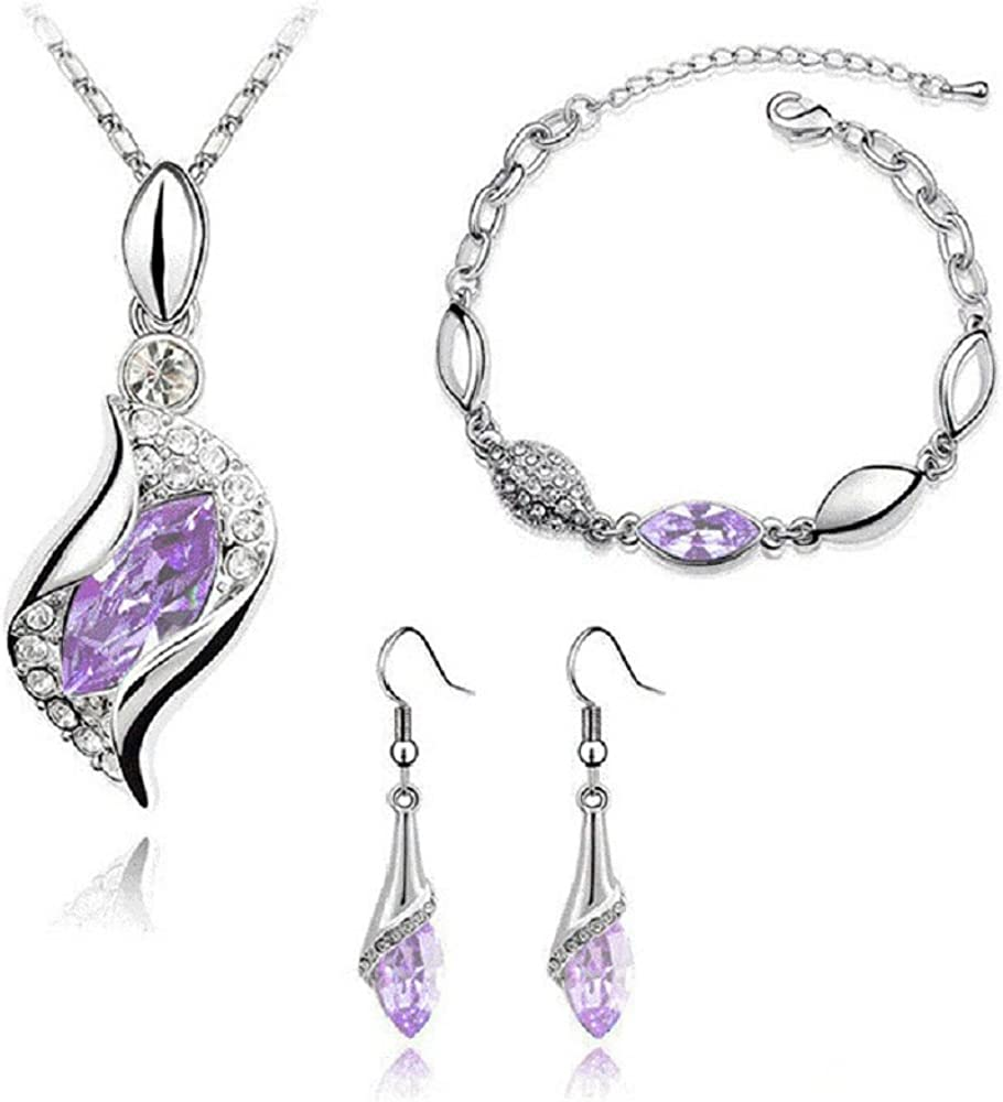 Graces Dawn Beautiful Cubic Zirconia with Platinum Plated Chain Necklace Angel Elf Pendant Mosaic Crystal Necklace Bracelet and Earrings Set Necklace 18