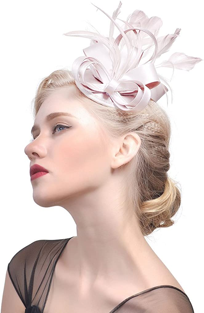 Eliffete Satin Wedding Fascinator Headband for Women Tea Party Feather Hair Clip