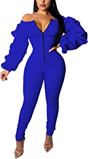 Womens Off Shoulder Jumpsuit Bodycon Long Sleeve Front Zipper Long Pants Rompers Outfit