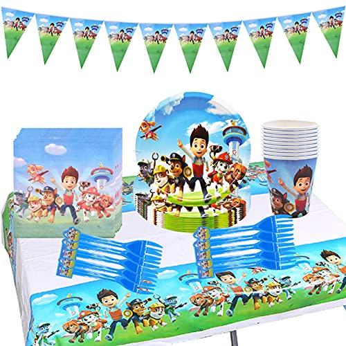 Tomicy Juego de vajilla reutilizable para fiestas, decoración de cumpleaños para niños, Paw Dog Patrol fiestas de cumpleaños infantiles, platos, tazas, servilletas, tenedores, banners, 52 piezas