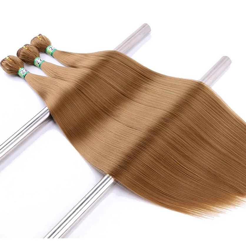 電子レンジ強制ボイラーYrattary ブロンドストレートヘアエクステンションウェーブナチュラルヘア3バンドル合成ヘアレースかつらロールプレイングウィッグロングとショートの女性自然 (色 : Blonde, サイズ : 22inch)