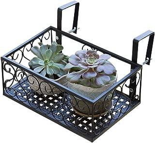 MORITIA Iron Hanging Shelf Basket with Hooks, Balcony Flower Pot Holder Railing Shelf, for Patio Porch or Fence (S, 11.8 x 7.8 x 4.5 inch)