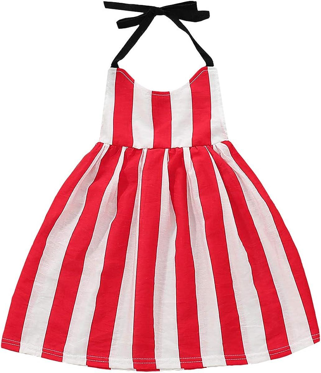 DaMohony Little Girls Dress Casual Stripe Print Sleeveless Halter Dress Girls Summer Party Princess Dress for 1-5 Years