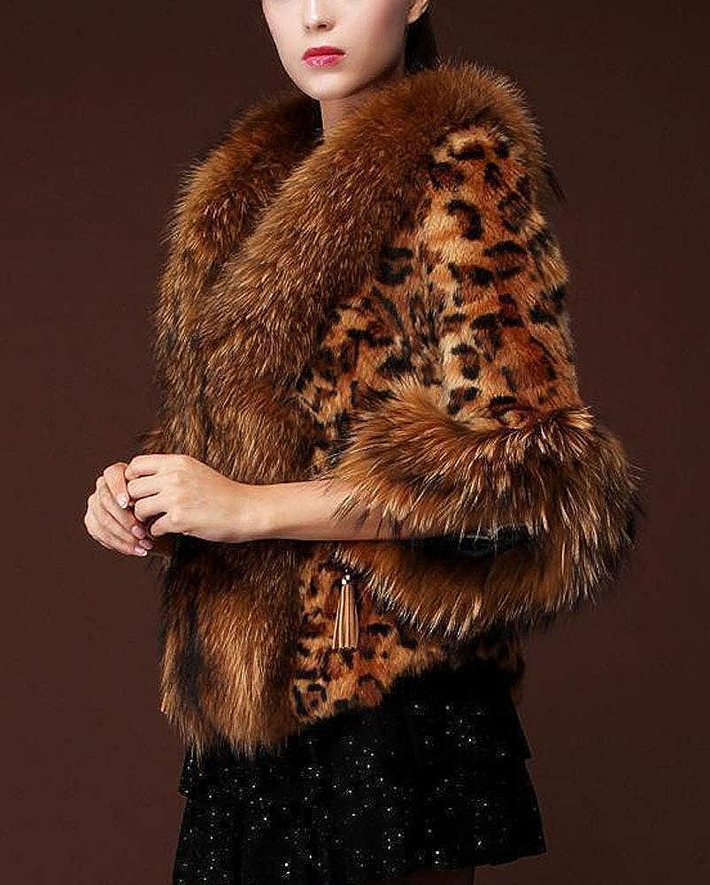 Wsirmet Women's Hooded Faux Fur Collar Drawstring Jacket Coat