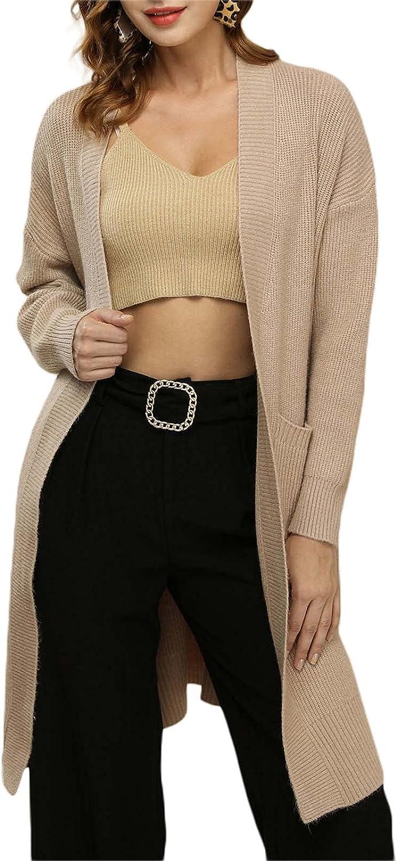 Mialoley Women's Open Front Cardigan Jacket Long Sleeve Sweaters Shrugs Knit Solid Loose Pockets Outwear Streetwear