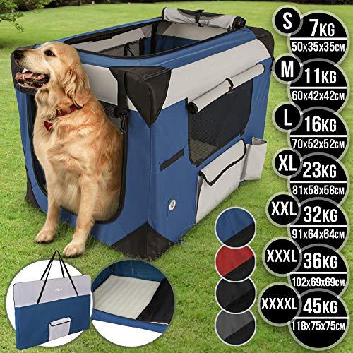 Hundebox aus Stoff - faltbar, zusammengefaltet tragbar, abwaschbar, Farbwahl, Größenwahl S-XXXXL - Hundetransportbox, Auto Transportbox, Katzenbox für Hunde, Katzen und Kleintiere (XXXXL, Blau)