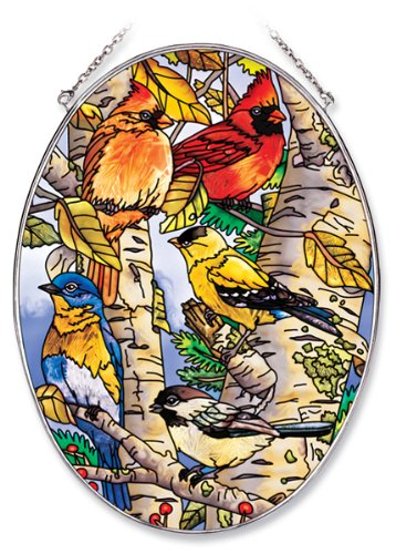 Amia 6433 Large Oval Suncatcher with Songbird Design 61/2Inch W by 9Inch L Handpainted Glass