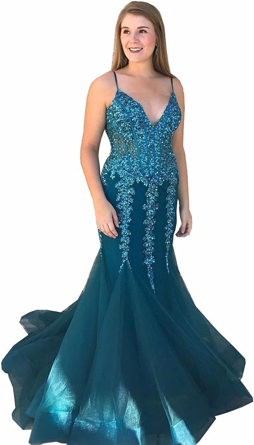 QiJunGe gold Appliqued Evening Gowns Sexy See Through Prom Dress with Straps
