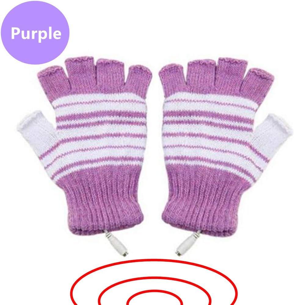 DECVO USB 2.0 Powered Stripes Heating Pattern Knitting Wool Heated Gloves Fingerless Hands Warmer Mittens Laptop Computer Warm Gloves for Women Men Girls Boys (Purple)