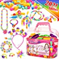 FUNZBO Snap Pop Beads for Girls Toys - Kids Jewelry Making Kit Pop-Bead Art and Craft Kits DIY Bracelets Necklace Hairband and Rings Toy for Age 3 4 5 6 7 8 Year Girl Old by FunzBo