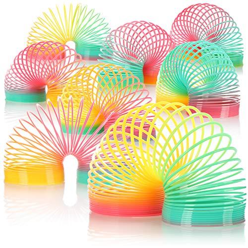 com-four® 8X Rainbow Espiral, los Corredores de Escalera Son los Juguetes de Culto de los 90, espirales saltarines para Hacer Malabares y como obsequios de Fiesta (08 Piezas - Arcoiris)
