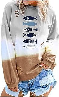 Sudaderas de manga larga casuales para mujer Sudaderas con estampado de color degradado Tops Túnicas con estampado de peces Camiseta Outwear Gogoodgo