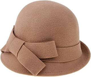 Baoblaze Women's Winter Wool Hat Solid Color Cloche Bucket with Bow Accent