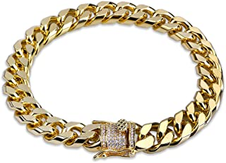 Hip Hop14K Gold Plated Finished Miami Cuban Link Bracelet with Iced Out Simulated Lab Diamond Clasp for Men Women