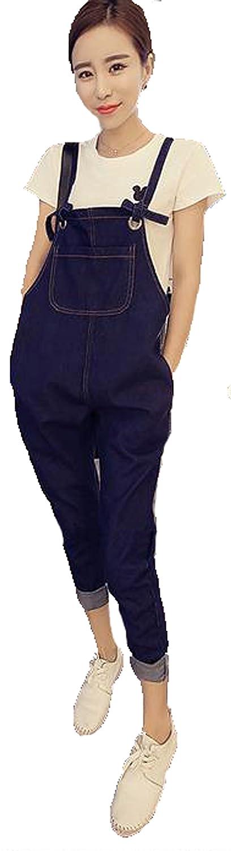 JIANGWEI レディース サロペットパンツ オールインワン ジーンズ デニム 九分丈パンツ 春夏 デニム ファッションパンツ ゆったり 可愛い 着痩せ シンプル 通勤 大きいサイズ