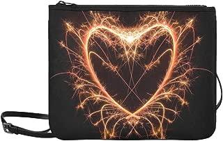 Sparkler Heat Heart Saint Valentine Card Pattern Custom High-grade Nylon Slim Clutch Bag Cross-body Bag Shoulder Bag