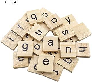 Cuttey - Baldosas de Madera con Alfabeto inglés, 100 Unidades, 26 Bloques de Madera de Pino, para Manualidades, Scrapbooking, Scrabble, C