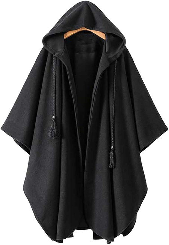 Souieyshop Winter Warm Hooded Long Woolen Coat Pockets Tassel tie Black Outerwear Solid Casual Loose Tops