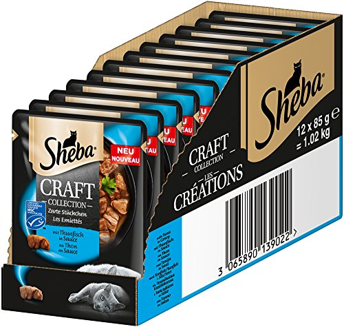 Sheba Craft Collection, Raffinato Cibo Umido per Gatti, Pezzi Sottili e Salse in Sacchetto da 85 g, Diverse varietà