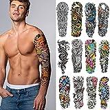 Tatuajes temporales para hombres y mujeres, 12 tatuajes temporales de manga completa para adultos, pegatinas de transferencia realistas, duraderas y resistentes al agua