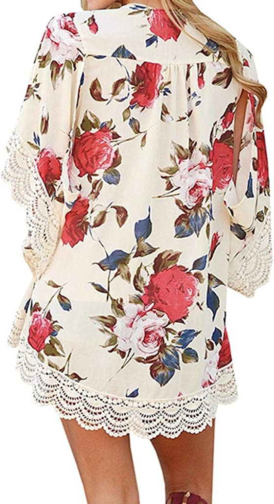 LISTHA Lace Cardigan Boho Floral Kimono for Women Long Sleeve Tops with Pockets