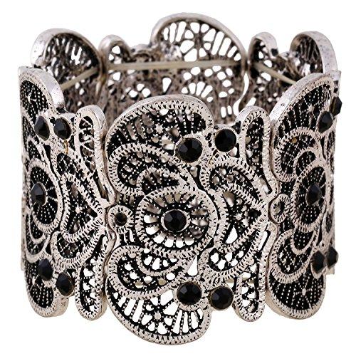 D EXCEED Womens Bohemian Lace Bracelet Vintage Filigree Cuff Bangle Bracelet Wide Stretch Rhinestone Bracelets for Ladies Anti Silver