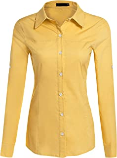 f843c44f713 Hotouch Womens Long Short Sleeve Cotton Basic Simple Button Down Shirt