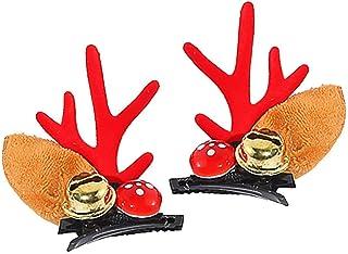 FEE-ZC 2 Pcs Christmas Hair Clips Lovely Christmas Barrettes Reindeer Handmade Hair Accessories Women Girls