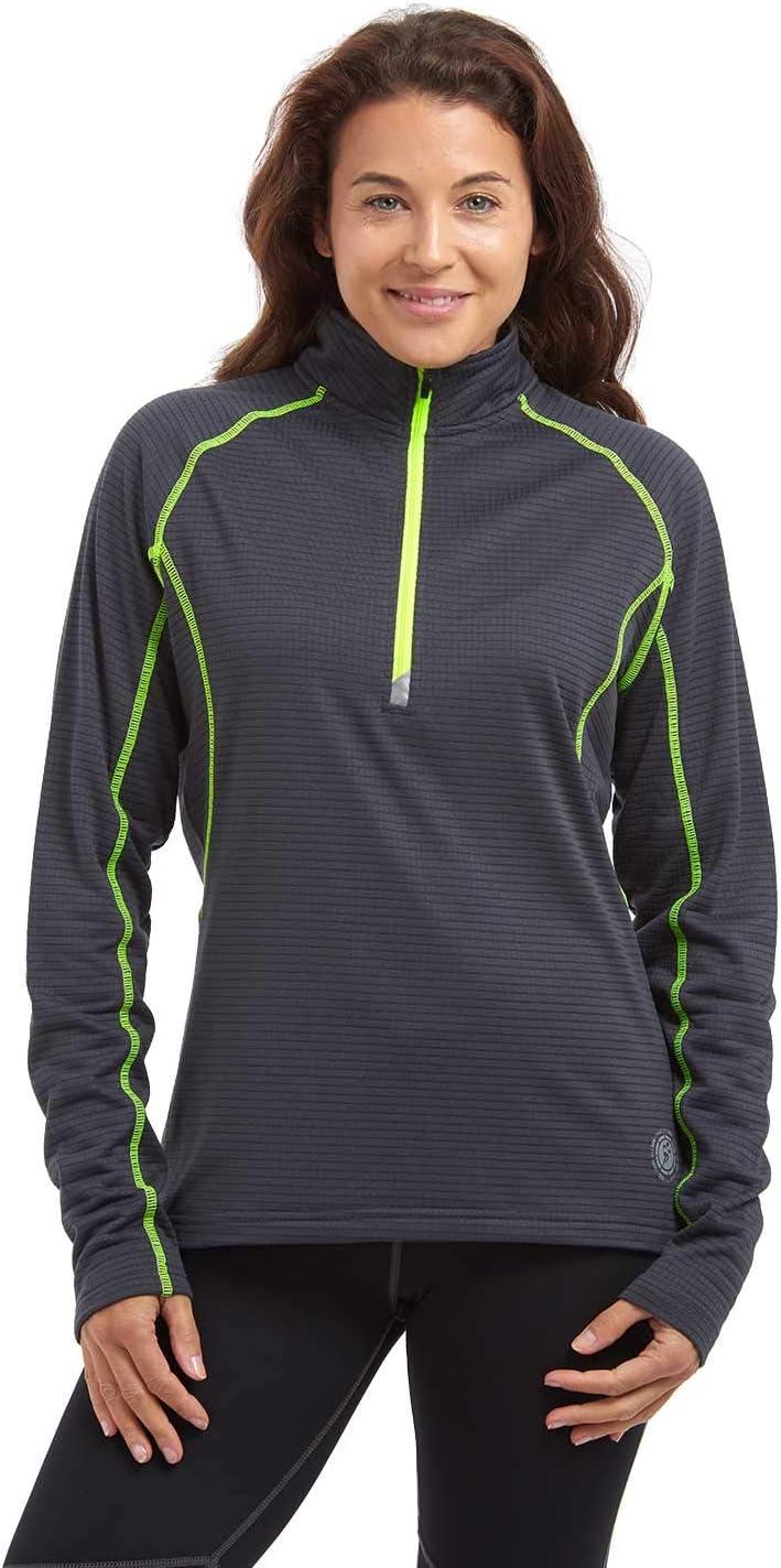 con Zip al Collo RER La Corsa//Palestra Time To Run Maglietta Termica Leggera a Manica Lunga da Donna