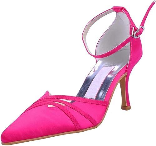 Qiusa MZ590 Escarpins à Boucles en en Satin pour Femmes, à Bout Pointu et à Talons Hauts (Couleuré   violet-7.5cm Heel, Taille   7.5 UK)  vente en ligne