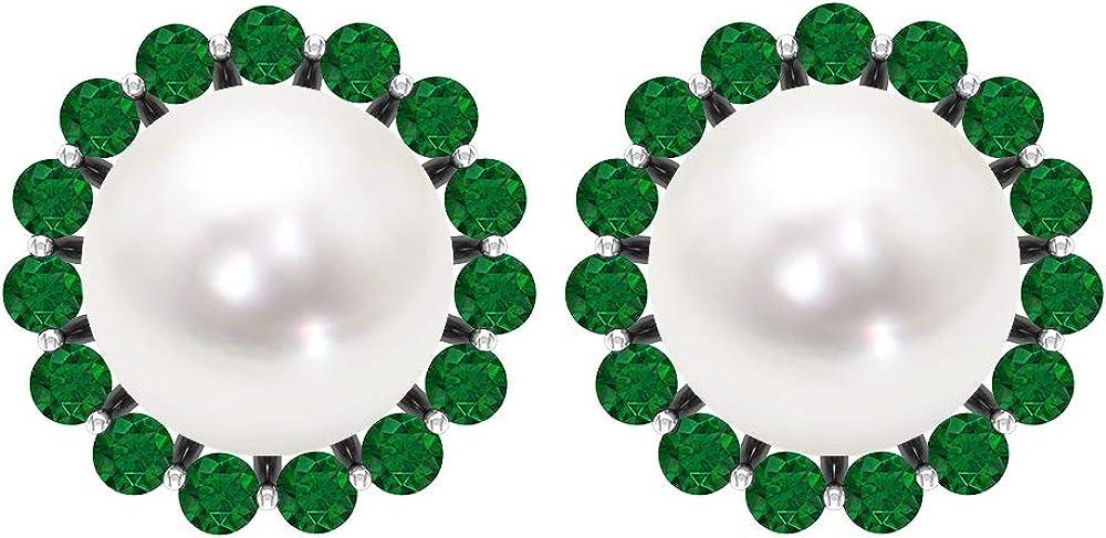Solitaire 6.45 CT Fresh Water Pearl Emerald Halo Stud Earring, Antique Bridal Wedding Statement Gemstone Earrings, September Birthstone Comfortable Earrings, Screw back