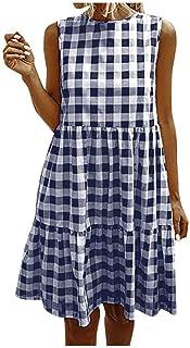 Xinantime Womens Elegant Dresses Plaid Sleeveless Summer Casual Sundress A Line Mini Dress