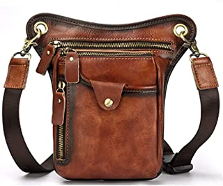 Motorcycle Waist Pack,Mens Bag,Genuine Leather Handbag,Messenger Shoulder Bag,Brown Crossbody