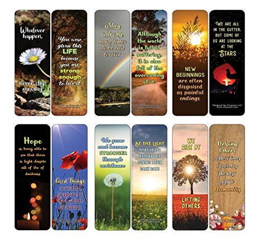 Creanoso Inspirational Quotes After Calamities Bookmarks Cards (12-Pack) - Stocking Stuffers Premium Quality Gift Ideas for Children, Teens, & Adults - Corporate Giveaways & Party Favors