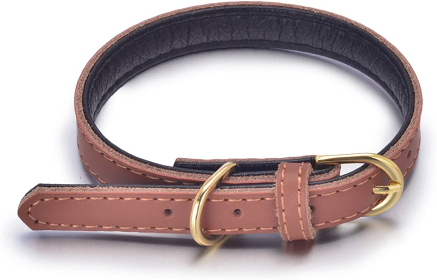 PETCARE Classic Dog Leather Collars Double Ply Soft Padded Basic Dogs Collar for Small Medium Large Dogs (S, Brown)