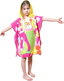 Genovega Toddler Hooded Beach Bath Towel – Mermaid Soft Swim Pool Coverup Poncho Cape for Girls Kids Children, 1-7 Years Old Bath Robe