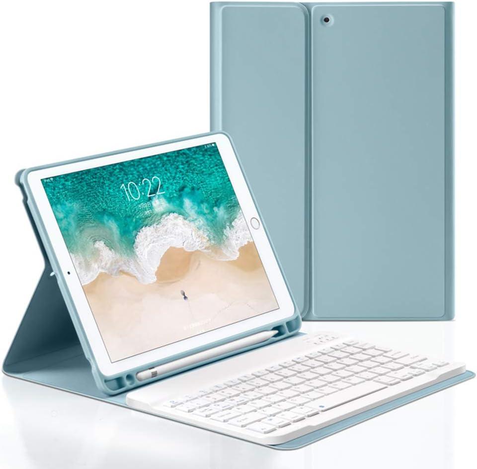 Bluetooth Keyboard Case for iPad Mini4 /5 7.9inch,Wireless Detachable iPad Keyboard Case with Pencil Holder(Blue)
