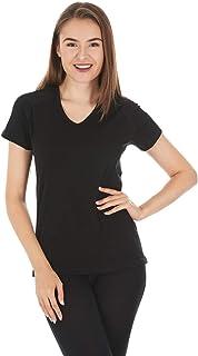 22V1 Woolverino Women's Micro V-Neck T-Shirt - 84% Merino...