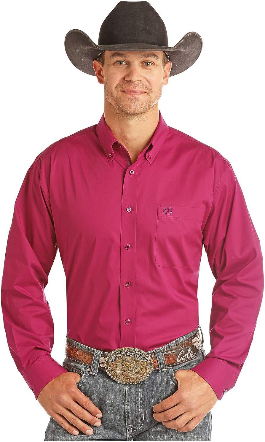 Panhandle Men's Long Sleeve Button Down Shirt, Cabernet