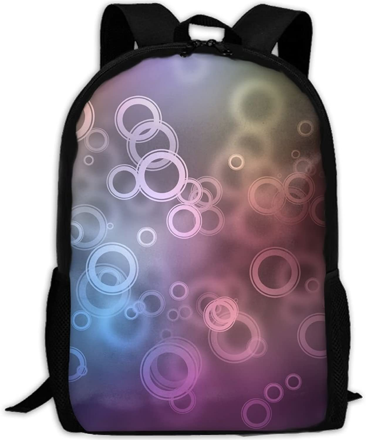 Adult Backpack colorful Highlights Circles College Daypack Oxford Bag Unisex Business Travel Sports Bag with Adjustable Strap