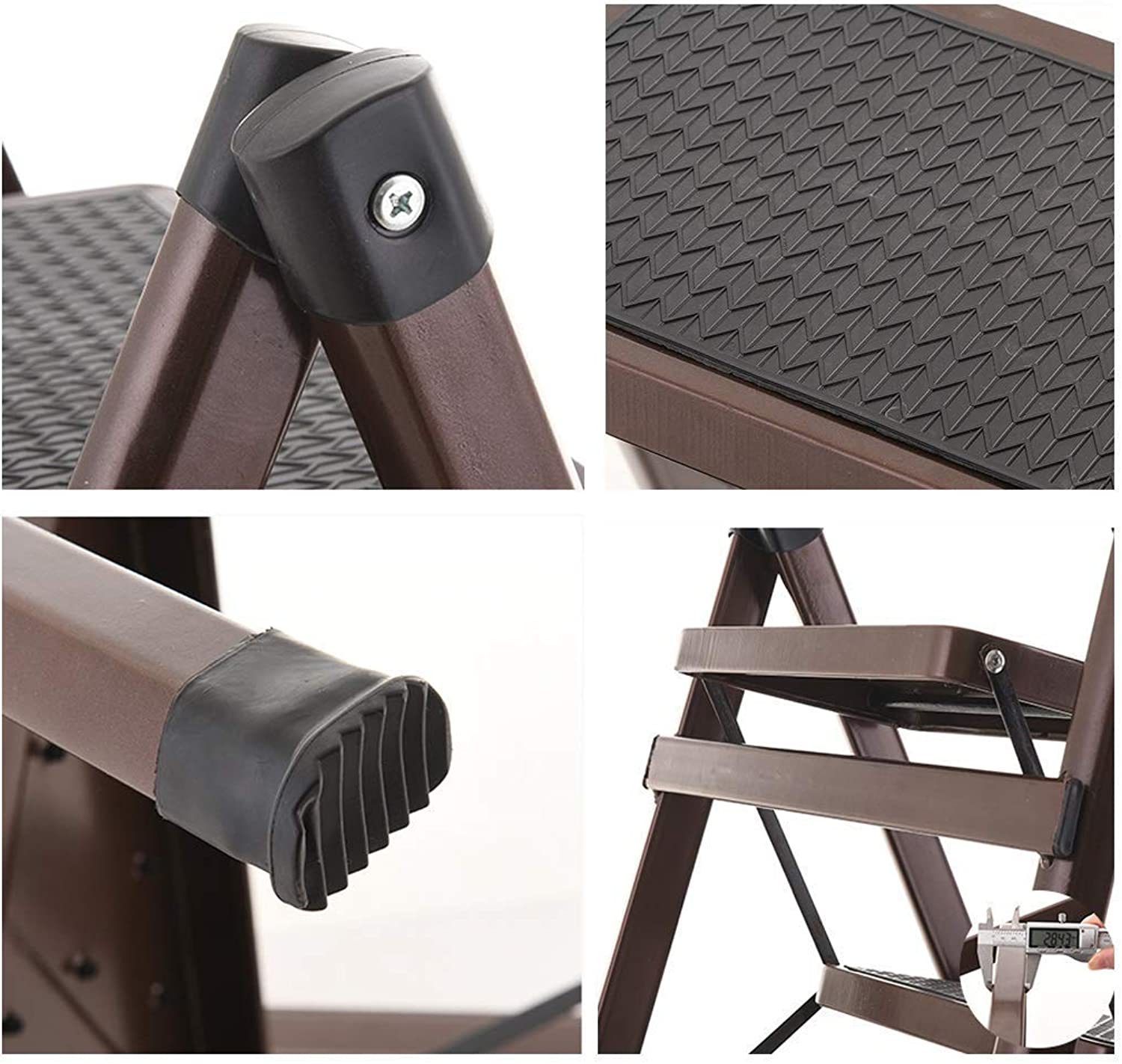 HOME Brown Folding Ladder Iron high Climbing Portable Step Stool 2 Ladder Small Stairs Heavy Ladder